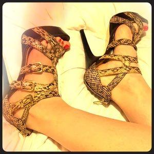 BEBE snake skin heels